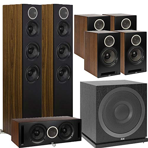 Best Price! ELAC 7.1 Channel Home Theater System Bundle with Debut Reference DFR52 - Pair - Black/Wa...