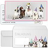 beriluDesign Einladungskarten Hunde zum Geburtstag für Mädchen Jungen Kinder oder auch Erwachsene - Einladungen Hund Kindergeburtstag Party mit Umschlägen