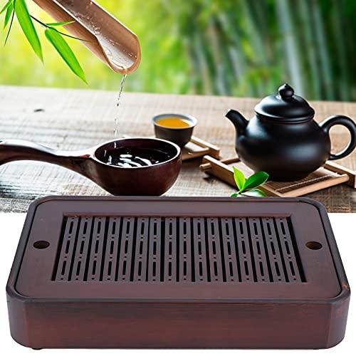 Jopwkuin Bandeja de té Familiar, platillo de bambú Platillo de bambú Natural para casa de té para la Familia para el Hotel para la Oficina