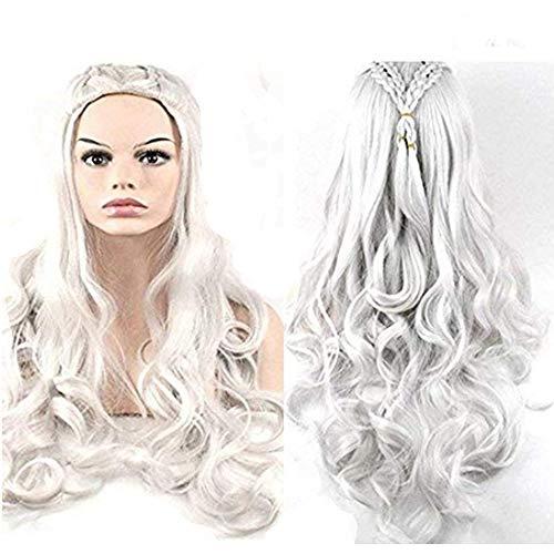 Morningsilkwig Princesa Juego de Tronos Daenerys Targaryen Dragón de Plata Ondulado Peluca Trenzas pelucas de cosplay Disfraces (Silver)