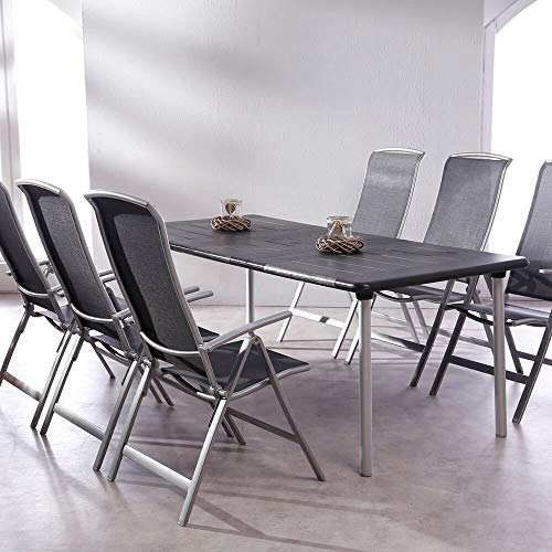 Gartentraum Juego de jardín de 6 Piezas con sillas Plegables y Mesa...