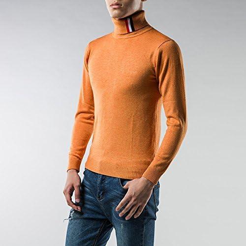 Jdfosvm Un t - Shirt Manches tête col Hommes Hiver Chaud et Confortable Chandail à Manches Longues,Orange,m