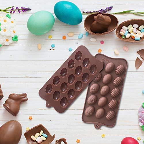 Molde para chocolate, molde para chocolate con huevo de Pascua, molde para hornear de silicona, molde para praliné de silicona platino de BPA para dulces, chocolates, tartas San Valentín