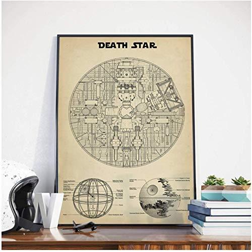 Surfilter Druck auf Leinwand Star Wars Death Star Blaupause Wandkunst Leinwand Poster Drucke Gemälde Bild für Wohnzimmer Wohnkultur 19.6& rdquo; x 27.5& rdquo; (50x70cm) Kein Rahmen 1