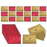 JOYISEN 50 buste in carta kraft con chiusura a cuore, fatte a mano, colore: rosso e oro