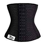 Grasshopr Women's Waist Trimmer and Slimming Corset with 3 Hooks Girdle (Black, Small)