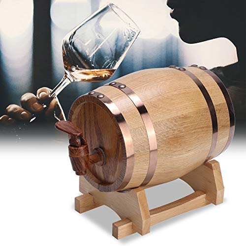 Barril de cerveza, mini bar doméstico portátil Vintage barril de cerveza de madera de pino Envejecimiento de vino Barril Accesorios de elaboración de cerveza Equipo de elaboración casera 1L(2#)