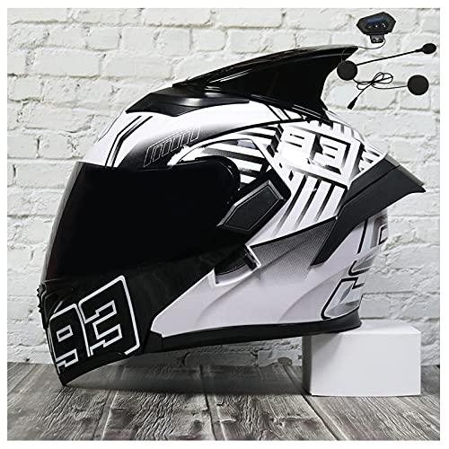 Casco de motocicleta de cara completa tipo abatible con Bluetooth Casco de motocicleta modular con Bluetooth Visera doble certificado ECE hombres adultos mujeres casco,3,L 59~60cm