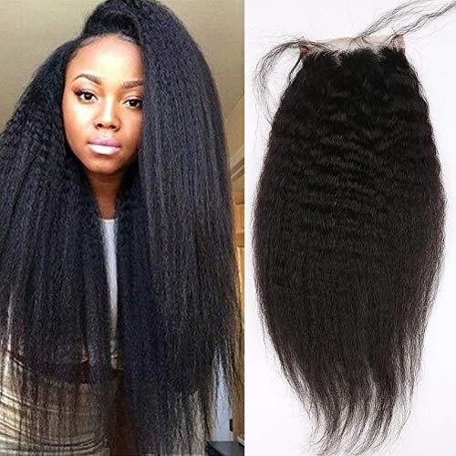 BLISSHAIR Kinky Straight Hair Closure Brazilian Virgin Yaki Straight Hair 4