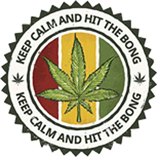 Keep Calm and Hit The Bong Colorful Marijuana Icon Logo Vinyl Decal...