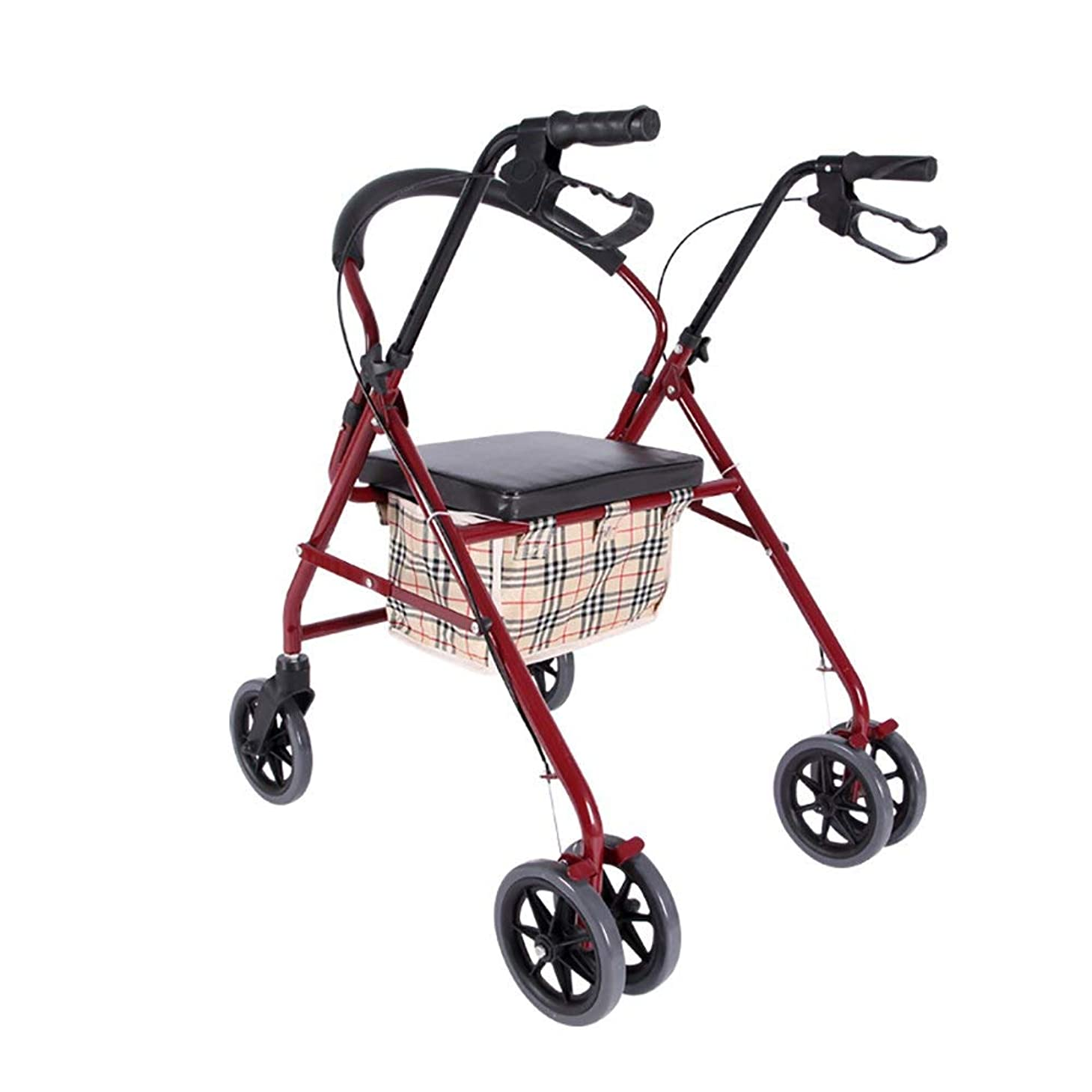 ホイールズボン効能パッド入りシート、ロック可能なブレーキ、人間工学に基づいたハンドル、キャリーバッグを備えた軽量折りたたみ式四輪歩行器ウォーカー
