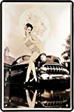 50:S Pin Up Girl Japanese Style with old Car cartel de chapa 20 x 30 Retro 709...