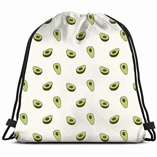 surce Avocado Print Stof Organische Voedsel en Drink Trekkoord Rugzak Sport Gym Tas voor Vrouwen Mannen Kinderen Grote Maat met Rits en Waterfles Mesh Zakken 14x17 Inch