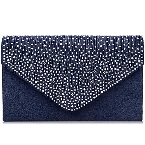 Milisente Evening Bag for Women, Glitter Rhinestone Wedding Evening Purse Crystal Envelope Crossbody Shoulder Clutch Bags(Navy Blue)