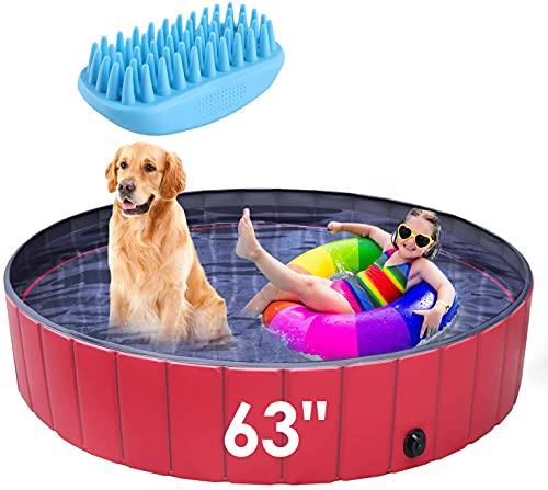PEDY 63' Dog Swimming Pool, 160cm Collapsible Pet Bath Pool Foldable Bathing Tub Portable Kiddie...