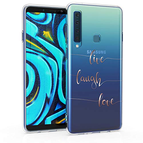 kwmobile Samsung Galaxy A9 (2018) Hülle - Handyhülle für Samsung Galaxy A9 (2018) - Handy Case in Live Laugh Love Design Rosegold Transparent