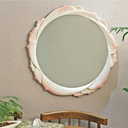 QXHELI achteruitkijkspiegel met Chinese lotus, van kunsthars, creatief, decoratief, voor slaapkamer, dressoir, rond, decoratie om op te hangen aan de muur, make-up spiegel