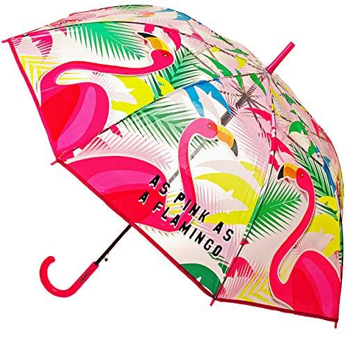 alles-meine.de GmbH großer XL - Automatik - Regenschirm - Flamingo & Palmen - Blumen - Ø 102 cm / durchsichtig & durchscheinend - transparent - groß Stockschirm mit Griff - Regen..