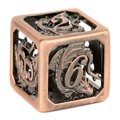 Handcrafted Hollow Out Ancient Copper DND Dice Brass Material D&D Dice for Role Playing Game Dungeons and Dragons RPG 7-Die