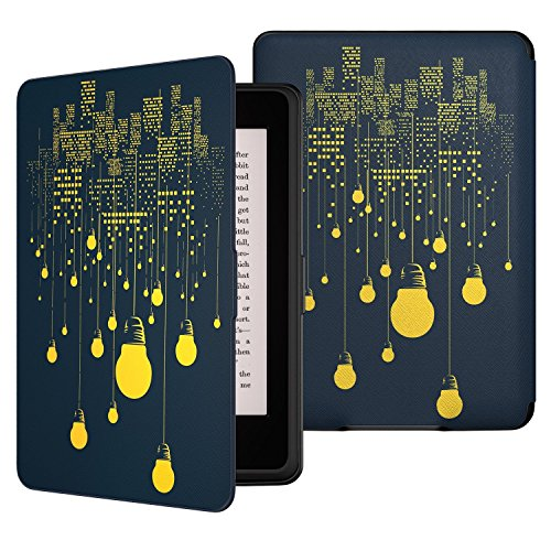 Capa para Kindle Básico da 8a geração - Rígida - Fecho Magnético - Hibernação - Lâmpadas