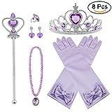 Vicloon neue Prinzessin Kostüme Set 8 Stück Geschenk aus Diadem, Handschuhe, Zauberstab,...