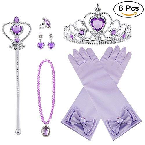 Vicloon Nuovi Costumi da Principessa Set di 8 Pezzi Dono da Tiara,Guanti,Bacchetta Magica, Anello, Orecchino,Collana da 3 a 9 Anni (Porpora)