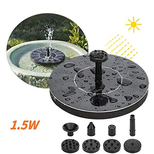 Solar Fountain 1W 15' Solar Water Fountain Pump Bird Bath for Outdoor Garden Pond Pool Fish Tank Aquarium Pond Pumps for Small Pond Patio Cordless Suction Pump (1.0W, Height:10~15')