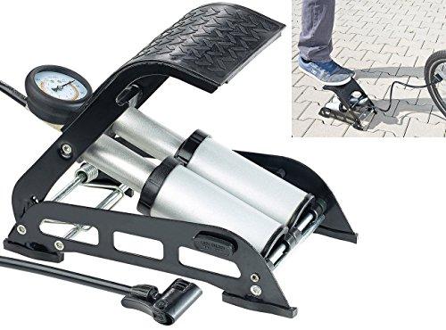 AGT Fahrradpumpe: Hochleistungs-Fußluftpumpe, Doppel-Stahlzylinder, Manometer bis 7 bar (Fusspumpe)