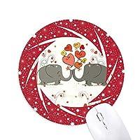 灰色の象は、バレンタインデーにキスをした 円形滑りゴムの赤のホイールパッド
