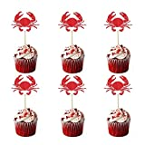 JANOU Crab Cake Toppers Ocean Crab Cupcake Decoration Picks for Wedding Birhtday Baby Shower Luau Party Favors Pack 48pcs