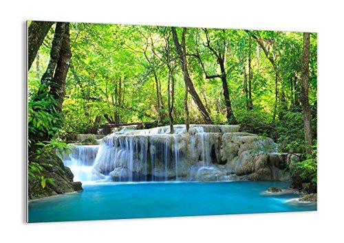 Bilder auf glas - Wasserfall Wald Umwelt - 100x70cm - Glasbilder - Wandbilder - Kunstdruck - zum Aufhängen bereit - Wanddekoration aus Glas - Glas Bilder - Wandbild auf Glas - GAA100x70-2664