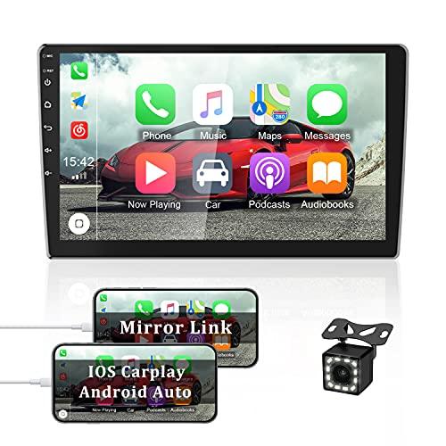 OiLiehu Doble DIN Android Autoradio para Apple Car Play, Pantalla Táctil HD 2.5D 10.1 Pulgadas con Bluetooth / Navegación / GPS / FM, Soporte Mirror Link WiFi Subwoofer + Cámara de Respaldo 12 Luces