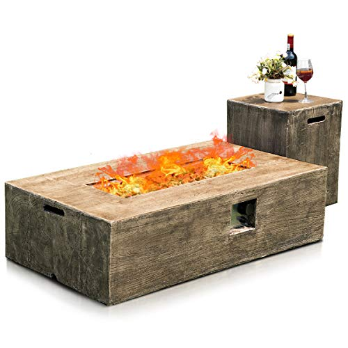 Giantex 2-Piece Propane Fire Pit Table Set with 20 Gallon Tank Side Table, 48 Inchx27 Inch 50,000 BTU Rectangular Fire Table, Waterproof Cover, Outdoor Furniture