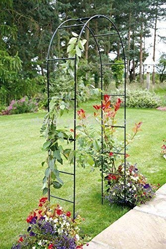 garden mile Large 2.4M Black Metal Garden Arch Heavy Duty Strong Tubular Arbour For Roses Climbing Plants Support Archway Decoration