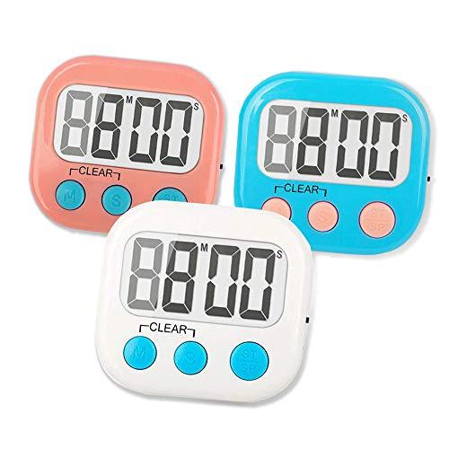 3 x Küchentimer aus Kunststoff mit Summer-Countdown-Timer (weiß/rosa/blau), magnetische Rückseite, zum Kochen, Klassenzimmer, Badezimmer, Lehrer, Kinder, etc.