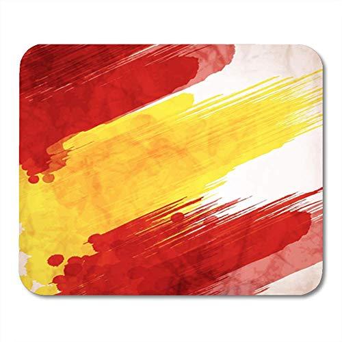 Semtomn Gaming Mouse Pad Aquarell Spanien Spanische Flagge aus bunten Spritzern Abstract Splash Symbol Blot Dekor Büro Computer Zubehör rutschfeste Gummi Backing Mousepad Mouse Mat