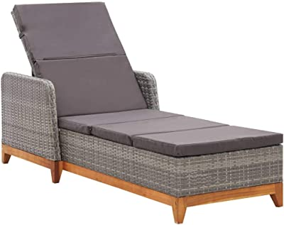 Patio Chaise Lounge Chair, Beach Lounge Chair Pool Sun Lounger Sun Lounger Poly Rattan and Solid Acacia Wood Gray