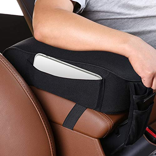Auto Center Console Armrest Pillow Pad Car Armrest Cushion Soft Memory Foam with Phone Holder Storage Pockets Bag Seat Cushion Universal Fit for Most Car
