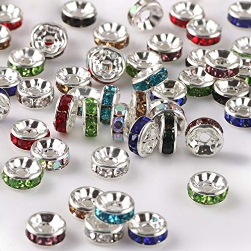 50 unids/lote 4 6 8 10 mm diamantes de imitación de cristal redondo espaciador perlas para hacer joyas DIY pulsera collar accesorios