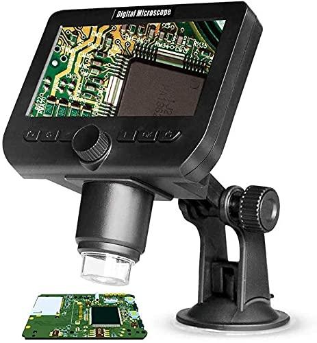 Xyfw Microscopio Digital LCD 1000X, WiFi Inalámbrico 4.3 Pulgadas 1080P Cámara Portátil con Zoom con Lupa Y 8 Luces LED Batería Recargable para La Reparación De La Colección De Monedas Soldadura
