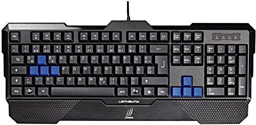"""uRage """"Lethality"""" Gaming Tastatur (QWERTZ, Schnellreaktionstasten, Anti-Ghosting-Effekt, 8 Ersatztasten, abnehmbare Handballenauflage) schwarz/blau"""