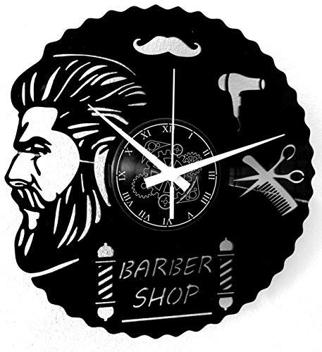 Reloj de pared de vinilo Vintage Handmade Amueblar Hogar Oficina para Barbería Peluquería Cabello Salón de Belleza