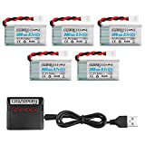 Makerstack 5PCS 1S Lipo 380mah Battery with X5 Battery Charger for Hubsan X4 H107L H107D H107C H107P H108 Holy Stone HS170G HS170 HS170C Protocol Dronium One RC Drone GBlife Bounce Car TOZO Q2020