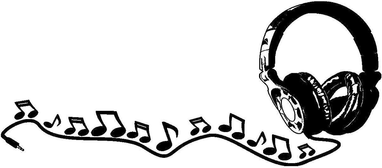 Samunshi® Wandtattoo Kopfhörer mit Noten in 9 9 9 Größen und 19 Farben (120x52cm schwarz) B00792A994 e38356