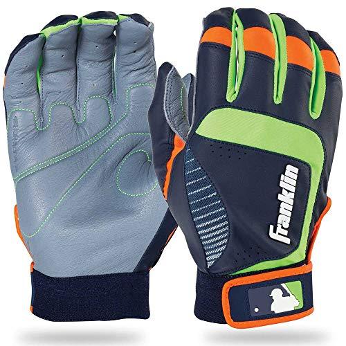 Franklin Sports Youth MLB Shok-Sorb Neo Batting Gloves, Youth Medium, Pair, Gray/Navy/Lime