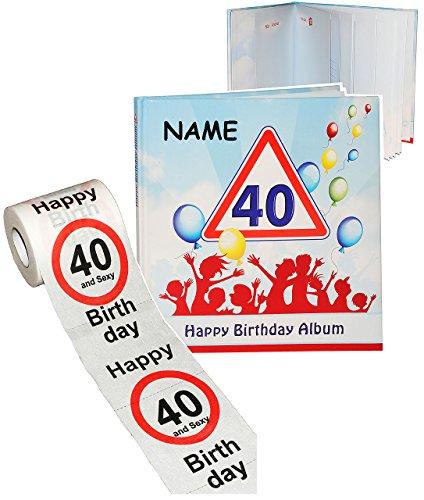 alles-meine.de GmbH 2 TLG. Set _ Geburtstag -  40 Jahre - Happy Birthday  - incl. Name - Erinnerungsalbum / Fotoalbum + Toilettenpapier Rolle - Gebunden zum Einkleben & Eintrag..