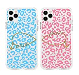 Cases for BFF Shark Cute Pink Blue Leopard Printed Best Friends Matching Couple Cases for iPhone 12 & iPhone 12 Pro(6.1 inch)