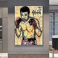 グラフィティアートボクシングアスリートピクチャーキャンバスペインティングポスタープリントウォールアートリビングルームの家の装飾-60x80cm(フレームなし)