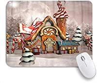 VAMIX マウスパッド 個性的 おしゃれ 柔軟 かわいい ゴム製裏面 ゲーミングマウスパッド PC ノートパソコン オフィス用 デスクマット 滑り止め 耐久性が良い おもしろいパターン (冬の風景イラストの魅惑のジンジャーブレッドハウス)