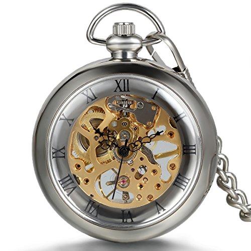 Jewelrywe Reloj de Bolsillo mecánico Cuerda Manual, clá